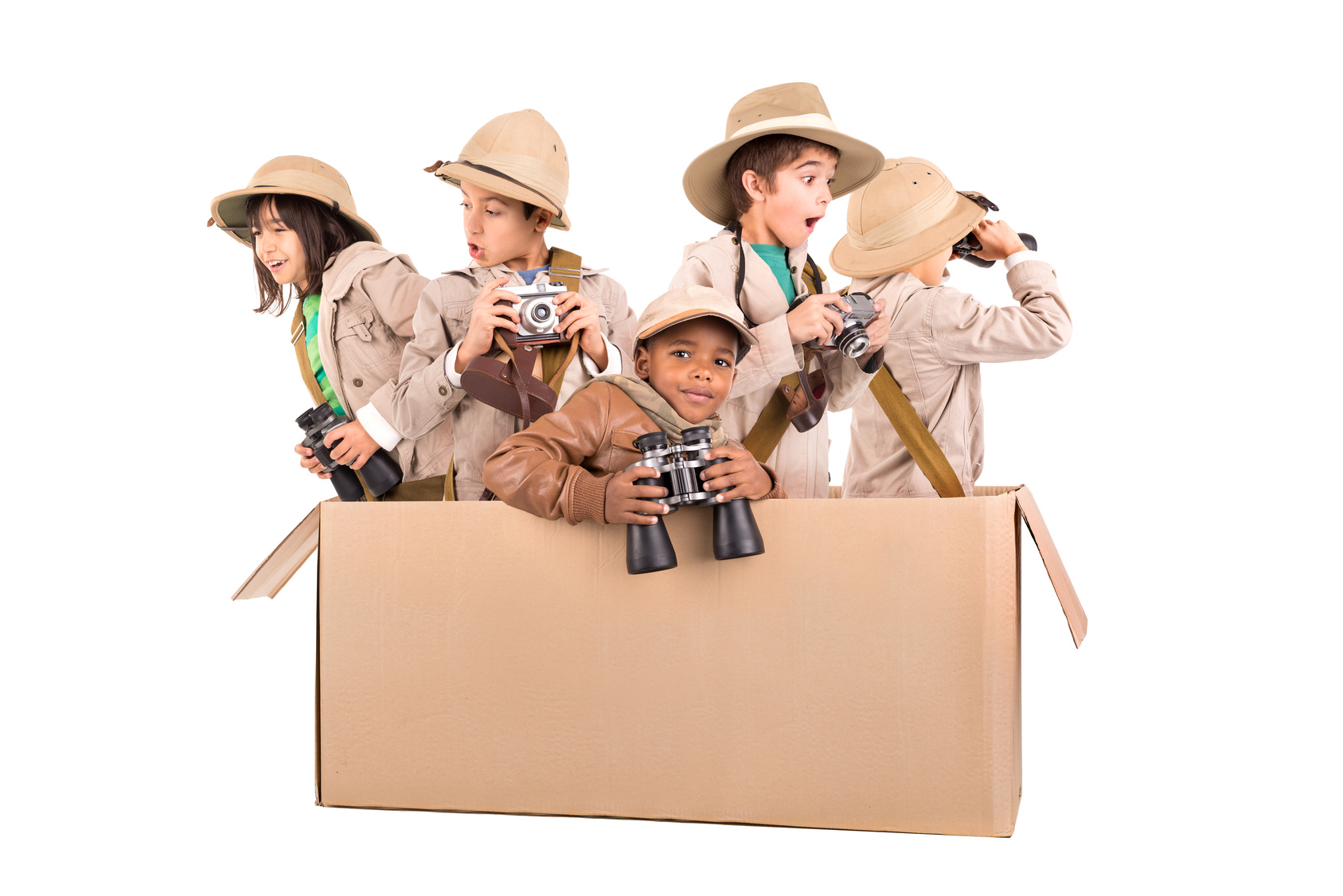 Children's group in a cardboard box playing safari